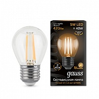 Лампа Gauss LED Filament Globe E27 5W 2700K 1/10/50