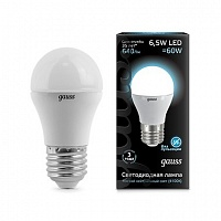 Лампа Gauss LED Globe E27 6.5W 4100K 1/10/50